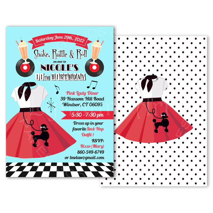 50s Sock Hop Party Invitation, Printable File, Diner Birthday Party Invite, Back