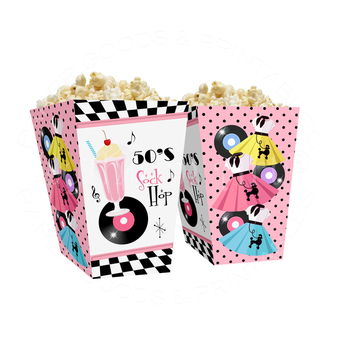 50s Sock Hop Popcorn Box, Instant Download, Printable Box for Sock Hop Party