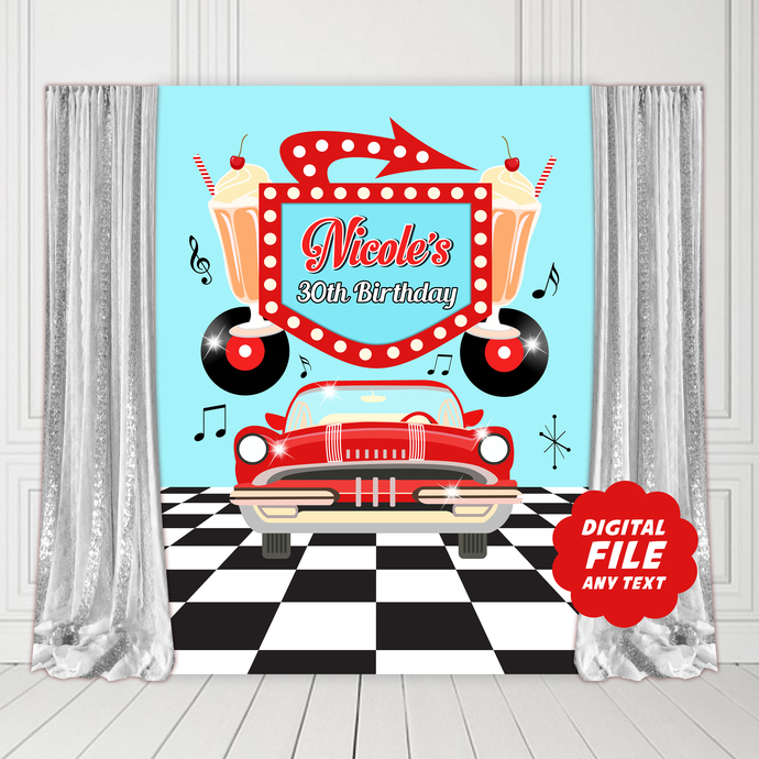 50s Sock Hop Party Backdrop, Printable Banner, 50's Diner Party Banner, Cadillac