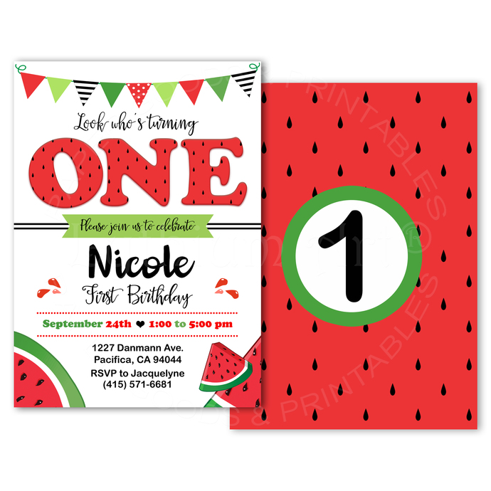 Watermelon Invitation, Watermelon Birthday Invitation, Red Watermelon Party, One