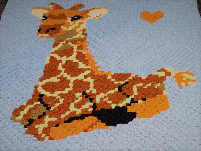 Baby Giraffe Love Boy C2C Crochet Pattern PDF Graph and Written Color Block