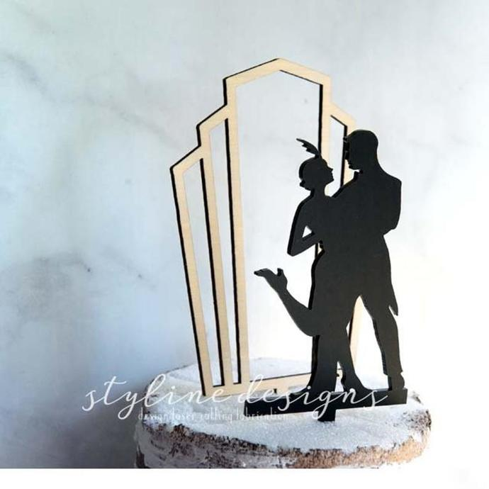 Gatsby Couple Romantic 3D Cake Topper