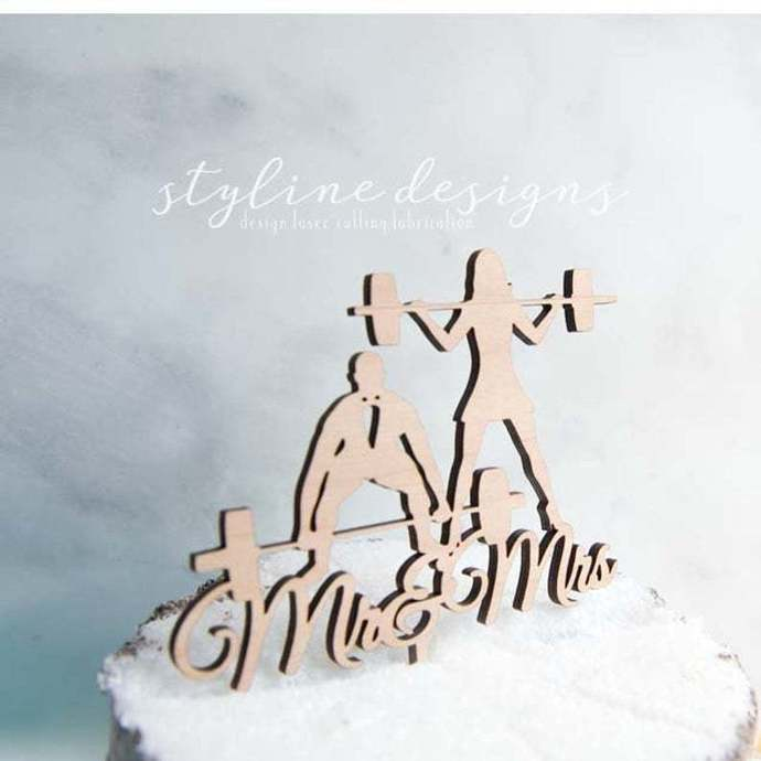 Weight LIfting Couple Romantic Cake Topper