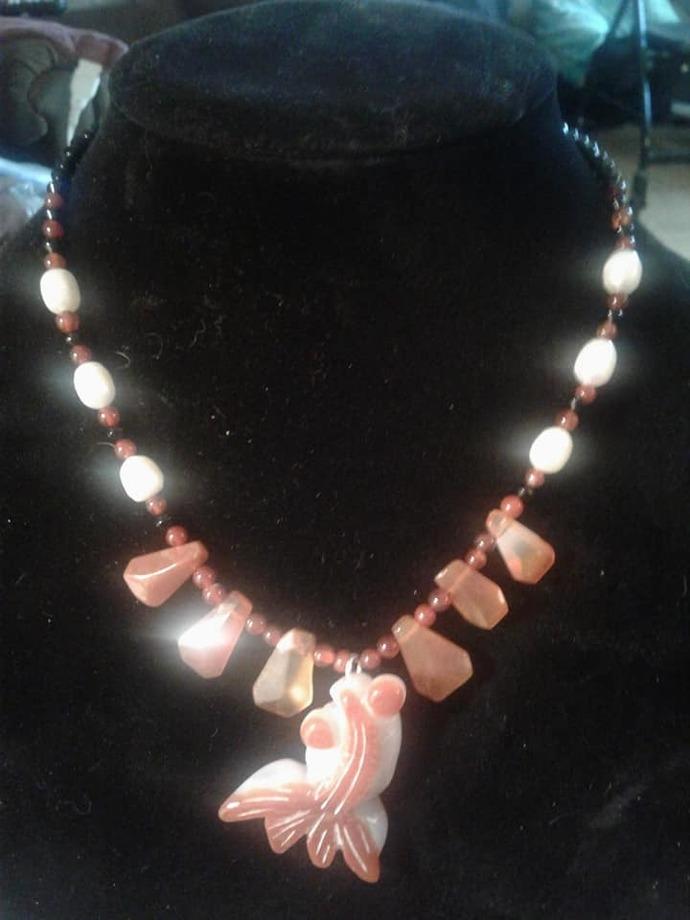 Agate Koi Fish Necklace