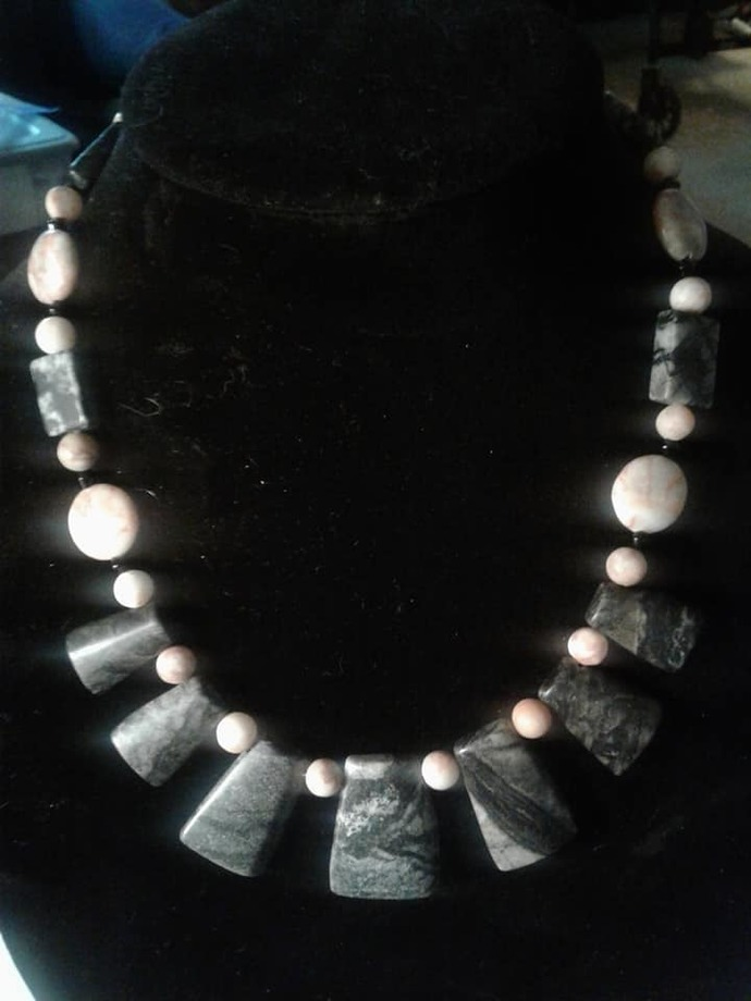 Picasso marble and Redline marble necklace