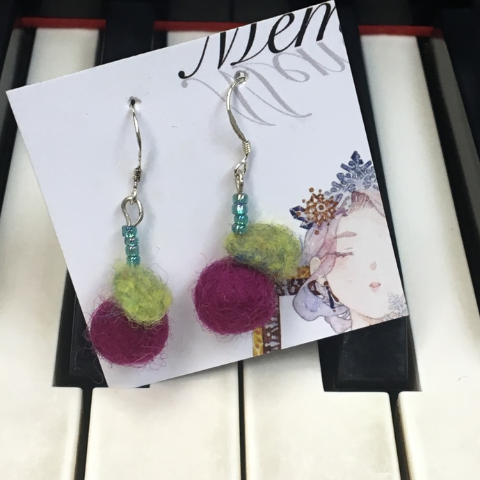 A pairs of Needle Felted and Beaded Earrings- Little Cherry