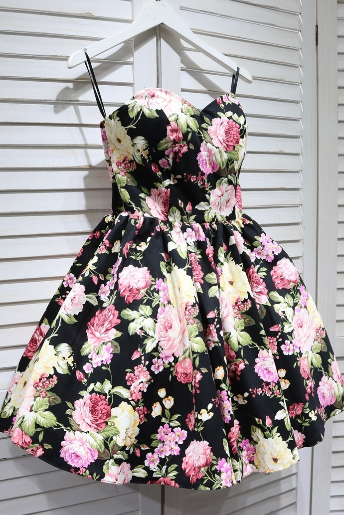 Cute Short Floral Party Dress, Lovely Sweetheart Prom Dress