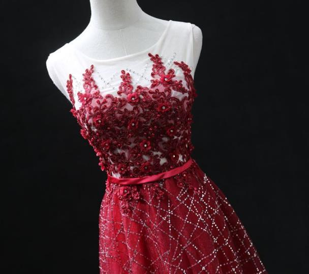 Beautiful Wine Red Lace Round A-line Prom Dress, Long Formal Gown