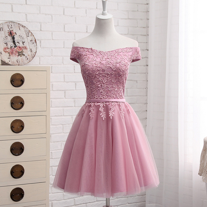 Pink Short Tulle Party Dress, Pink Tulle Bridesmaid Dress
