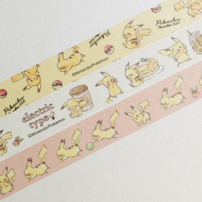 3 Rolls of Limited Edition Japanese Anime Washi Tape: Pokemon Pikachu
