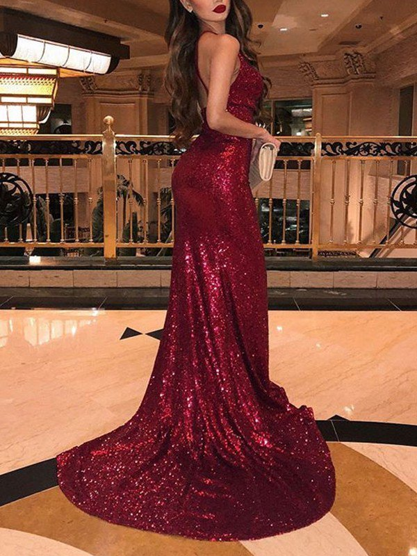 burgundy sparkly evening dresses long v neck sexy mermaid elegant modest evening