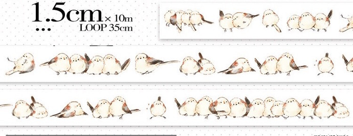 1 Roll of Limited Edition Washi Tape: Long-tailed tit