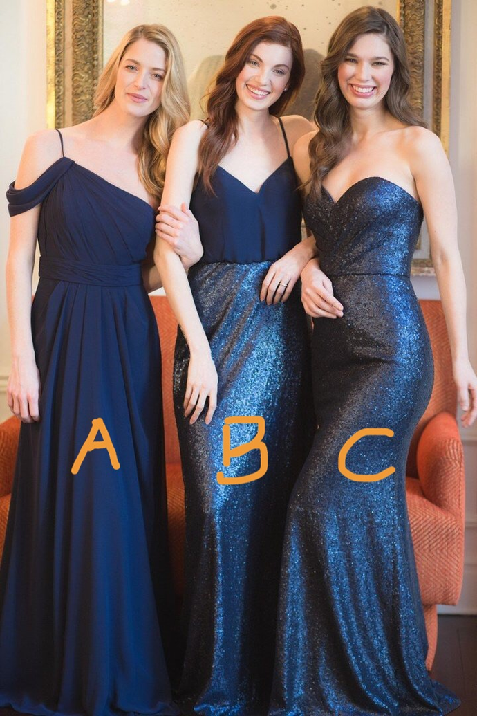 mismatched bridesmaid dresses long navy blue sparkly cheap custom wedding party