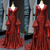 luxury mermaid evening dresses long flare sleeve sparkly burgundy modest sequin