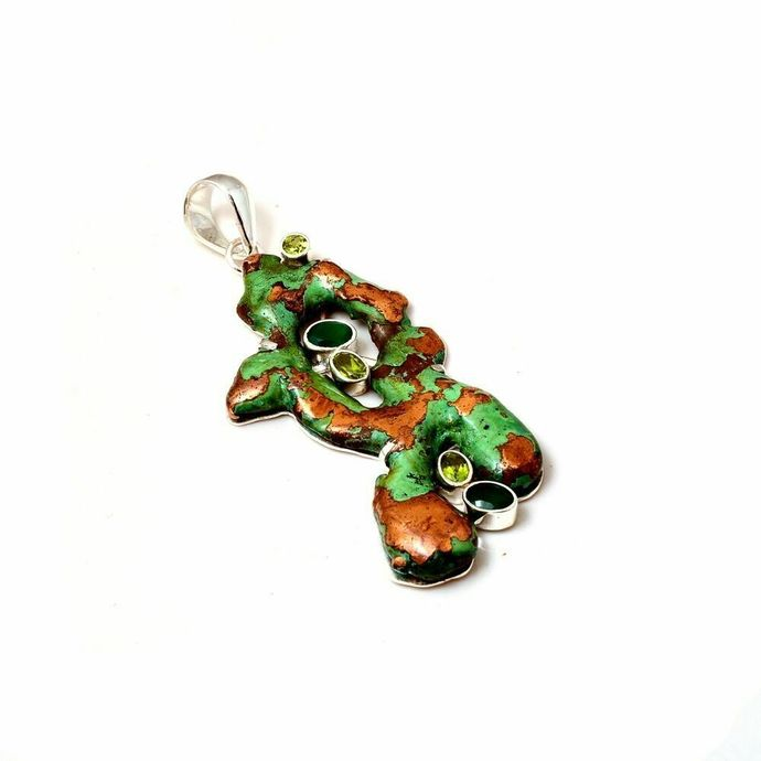925 Sterling Silver Peridot,Onyx Copper Nuggets Pendant Jewelry,Color Stone