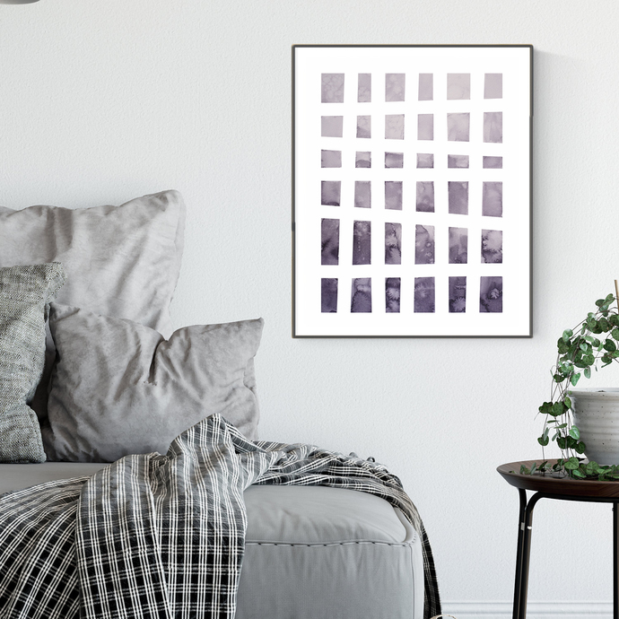 Modern Purple Watercolor Print , Abstract Watercolour, Modern Art violet,