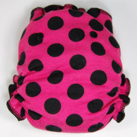 Ready to Ship One Size Cloth Diaper -  Fuchsia Pink with Black Polka Dots -