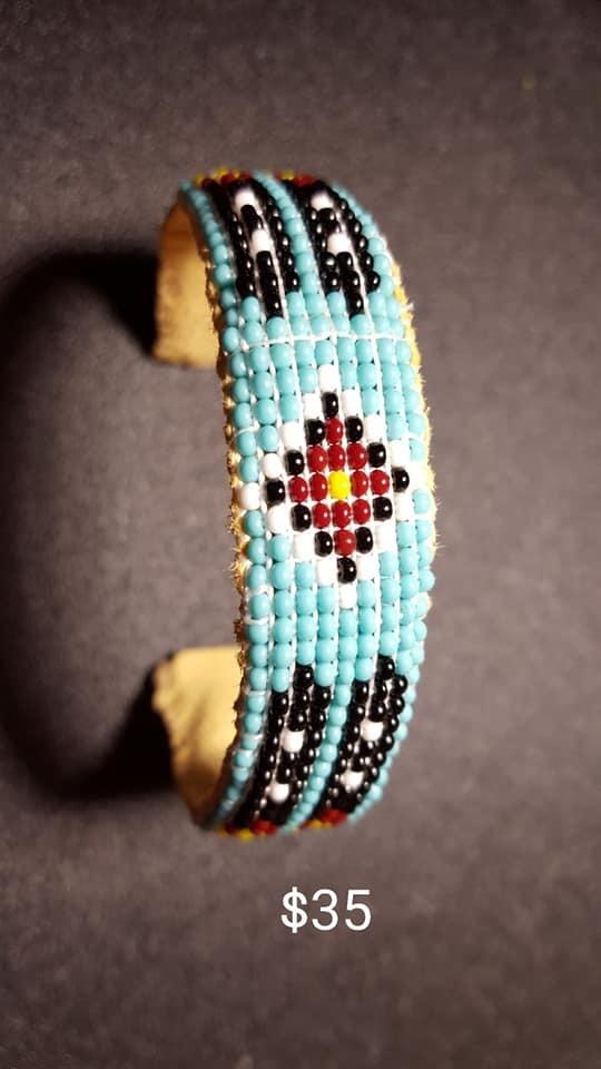 Blue Feathers Cuff Bracelet