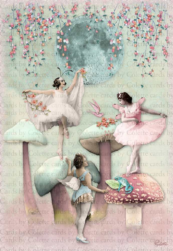 Moonlight Dance Digital Collage Greeting Card2600