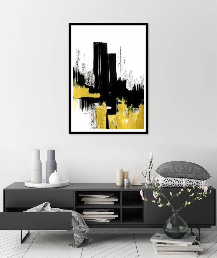 Abstract digital print, yellow and black painting, digital download print,