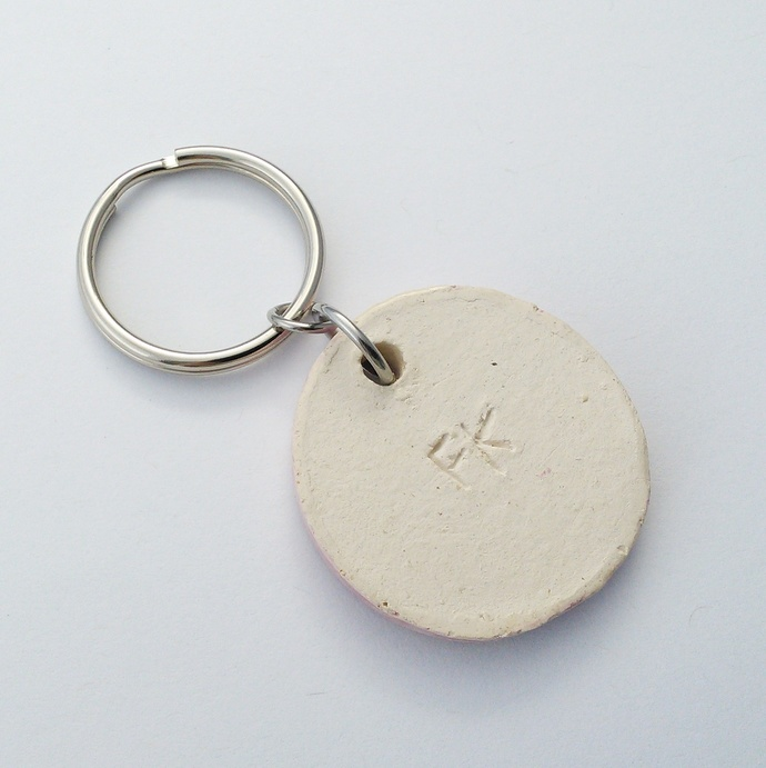 Ceramic Keyring Stamped Heart