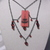 Red glass shadow chandelier pendant necklace