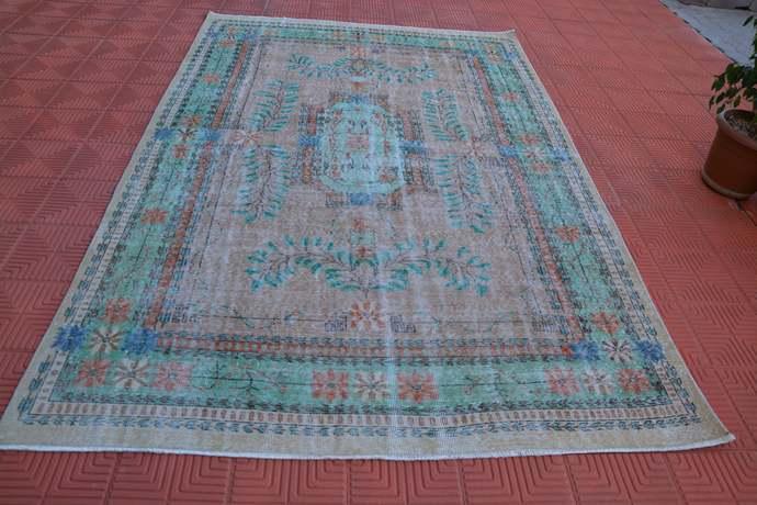 Oversized Geometric Vintage Oriental Rug, Antique Rug, Low Pile Rug, Oushak Rug,
