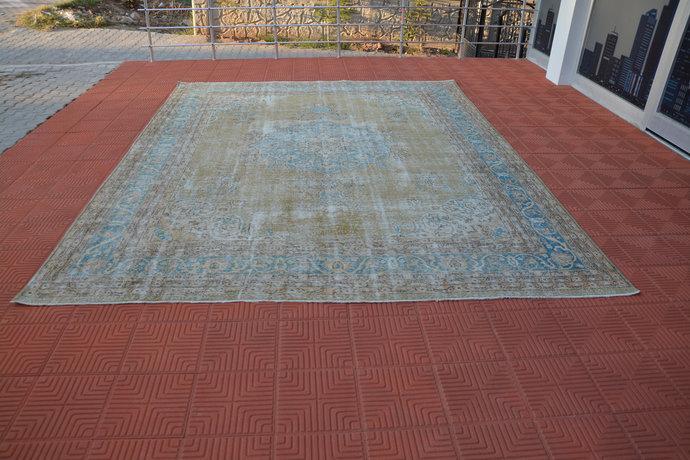 Vintage Oushak Organic Wool Rug, Persian Style Area Rug, Moroccan Rug, Vintage