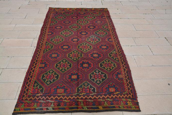 Home Entry Rug, Burgundy 6x11 Rug, Oushak Carpet Turkish Rug For Interior, Kilim