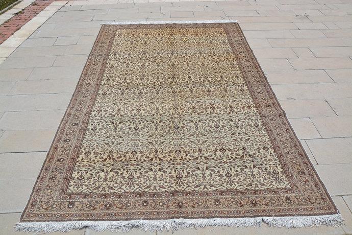 Oriental Rug Brown, Vintage Turkish Carpets, Brown and Beige Turkish Rug,