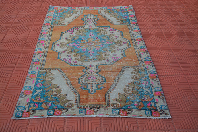 Oriental Rug, Turkish Rug, Vintage Rugs, Wool Decorative Oriental Rug, Oushak