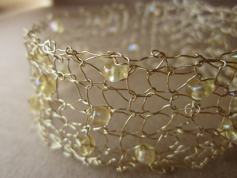 Handcrafted Knit Wire Jewelry Gold   HandcraftedJewelry