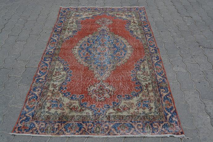 Mini Rug, 4 x 7 Feet Rugs, Turkish Wall Hanging, Handmade Rug Carpet, Red Blue