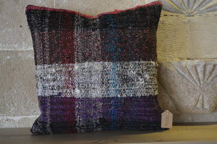 Vintage Cushion, 16x16 Kilim Pillow, Rustic Kilim Cushion, Cushions, Wool Kilim