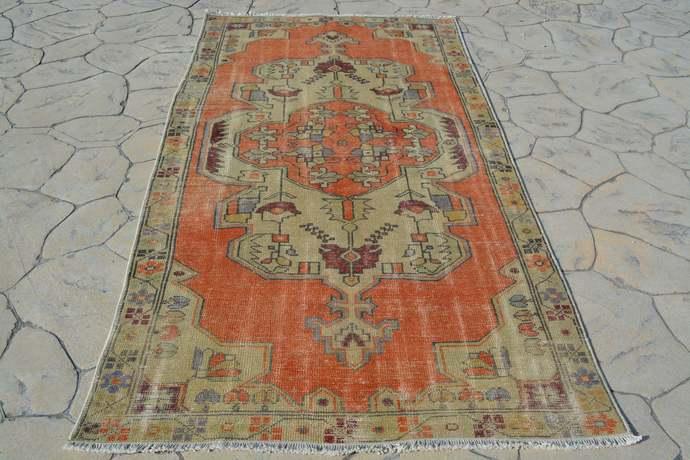 Vintage Rug, Orange Oushak Rug, Knotted Rug, Turkish Rug 4x7,  Vintage Ethnic