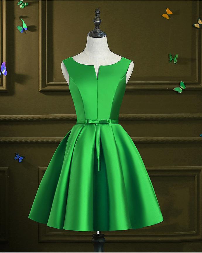 Green Satin Homecoming Dress, Round Neckline Party Dress 2020