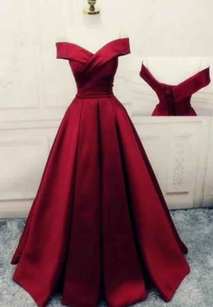 Dark Red Long Off Shoulder Party Dress, Red Evening Gowm 2020