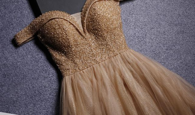 Dark Champagne Tulle Sweetheart Beaded Long Formal Gown, Prom Dress 2020