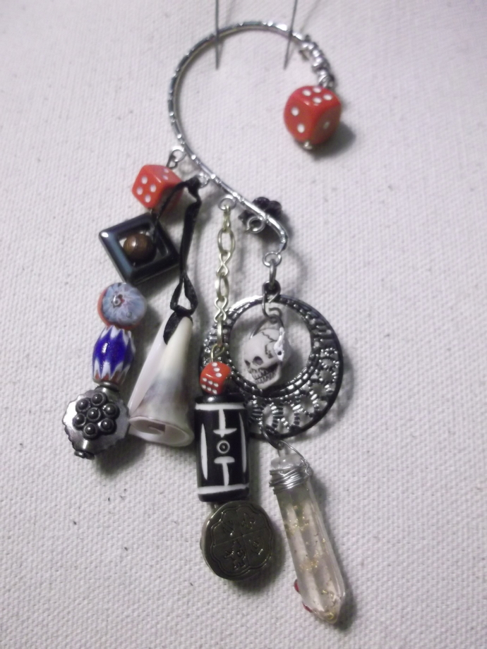 Pirate inspired ear wrap with shell bead, skull bead, trade beads and dice beads