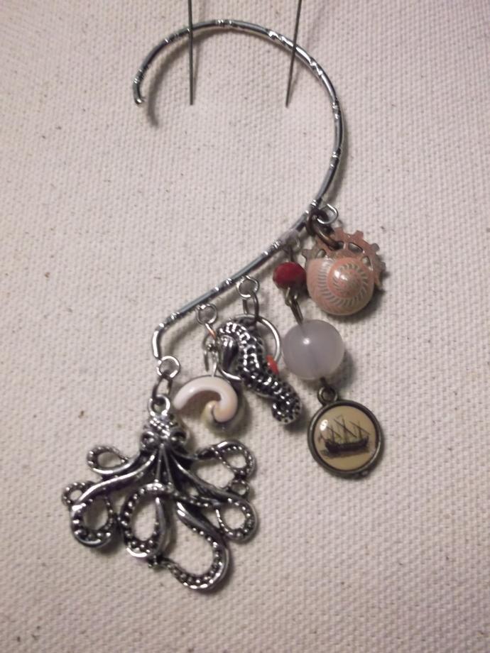 Octopus pendant seafaring ear wrap