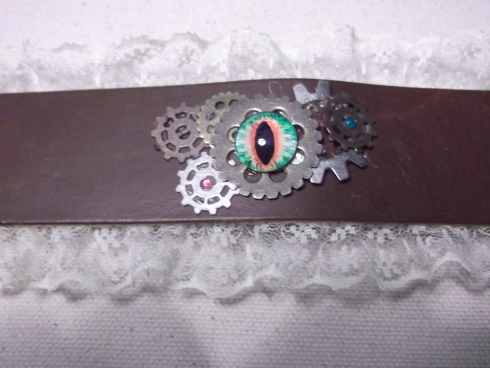 Leather and lace dragon eye and gears wristband