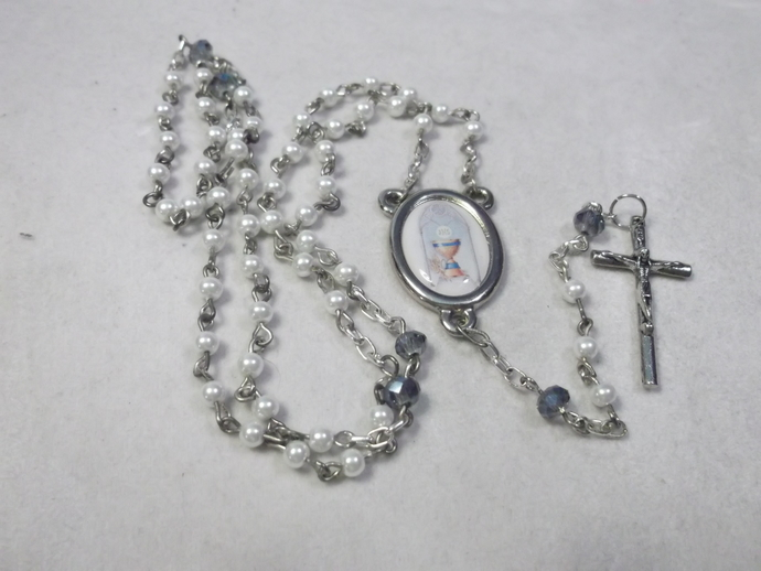 First Holy Communion Rosary blue and white