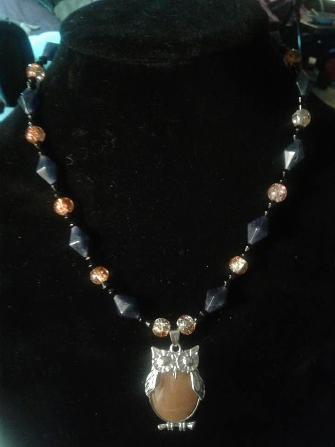 Jade Owl and Blue Jade Necklace
