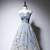 Beautiful Blue Tulle Long Party Dress, Blue Evening Gown
