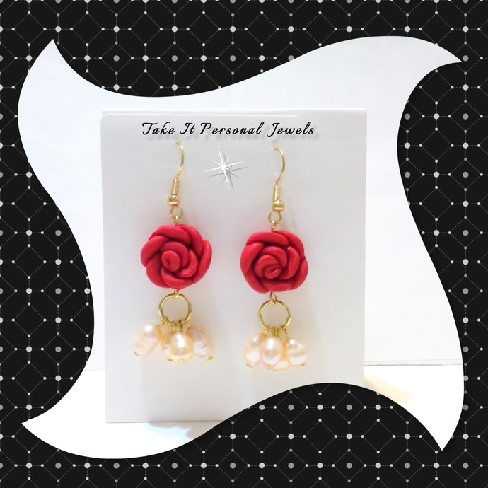 Red Rose Fresh Water Pearls Dangle Earrings