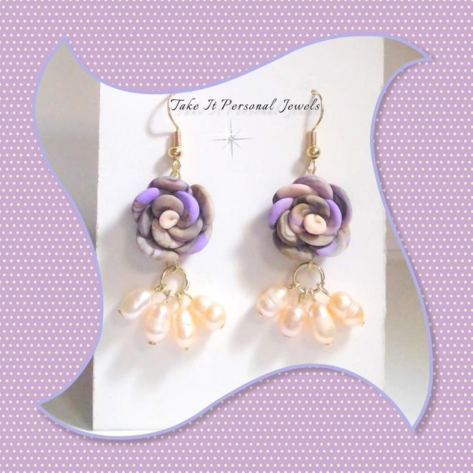 Rose Pastel Fresh Water Pearls Dangle Earrings