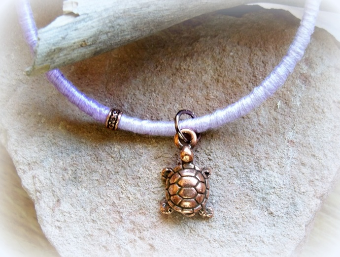 Yurtle the Turtle Purple Thread Wrapped Bracelet