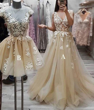 champagne lace applique prom dresses short/long elegant a line tulle cheap prom