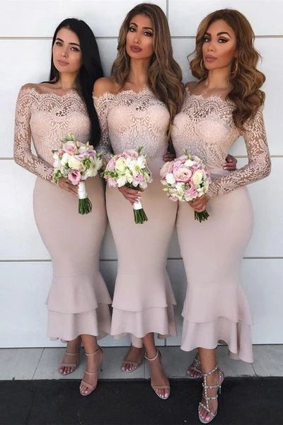 lace applique mermaid bridesmaid dresses short champagne elegant custom wedding