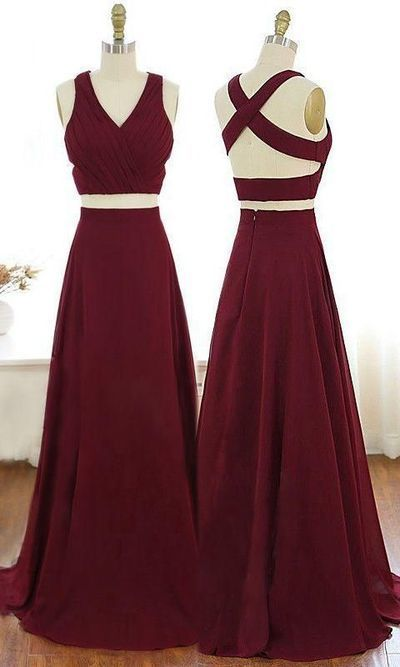 Charming V-Neck Burgundy Party Dress Criss-Cross Straps Chiffon Two Piece Prom
